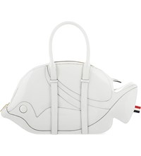 Thom Browne Trigger Reef Fish Patent Leather Tote White