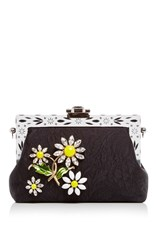 Dolce And Gabbana Silk Jacquard Evening Purse With Crystal Daisy Embellishment Black