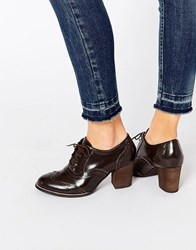 Park Lane Brogue Mid Leather Heeled Shoes Brown