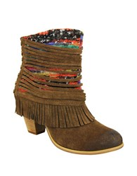 Naughty Monkey Talyhoe Fringe And Lace Suede Ankle Boots Tan