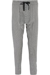 Haider Ackermann Striped Linen And Silk Blend Tapered Pants Gray