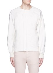 Attachment Collarless Tech Cotton Bomber Jacket White