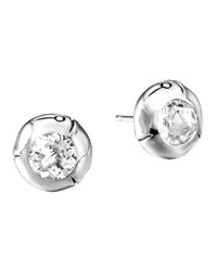 White Topaz And Silver Bamboo Stud Earrings John Hardy