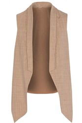 Brunello Cucinelli Chain Embellished Woven Wool Blend Vest Nude