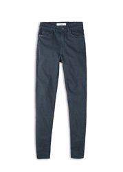 Mango Skinny Cotton Trousers Charcoal