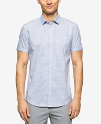 Calvin Klein Men's Short Sleeve Jaspe Check Shirt Regatta