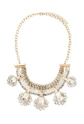Forever 21 Rhinestone Chained Statement Necklace Blue Clear