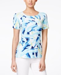 Jm Collection Petite Short Sleeve Printed T Shirt Only At Macy's Blue Washed