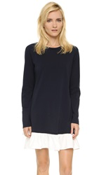 Clu Long Sleeve Ruffle Tee Dress Navy White