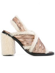 Maison Martin Margiela Mm6 Shearling Sandals Pink Purple