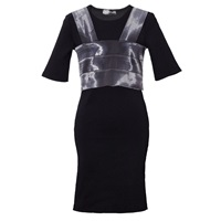Ardent And Co Ribbon Dress With Transparent Nylon Top Black