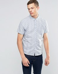 Another Influence Patterned Short Sleeve Shirt Blue
