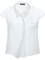 Carmen Secareanu Cap Sleeve Sheer Shirt White
