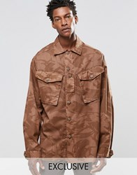 Reclaimed Vintage Camo Over Shirt In Over Dye In Regular Fit Brown