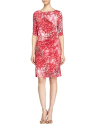 Carmen Marc Valvo Half Sleeve Leopard Print Dress