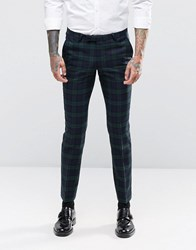 Noose And Monkey Super Skinny Suit Trousers In Tartan Green