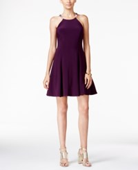 Betsy And Adam Embellished Halter Fit Flare Dress Plum