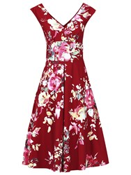 Jolie Moi Floral Print Fit And Flare Dress Dark Red