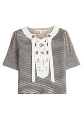 Veronica Beard Sanibel Lace Up Top Gr. S