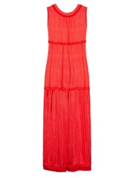 Missoni Mare Chevron Knit Tassel Trimmed Maxi Dress Red