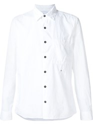 Stone Island Embroidered Detail Button Down Shirt White