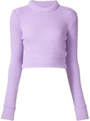 Unif Ribbed Roll Neck Jumper Pink And Purple