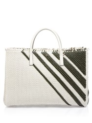 Anya Hindmarch Diamonds Maxi Featherweight Ebury Leather Tote Green Stripe