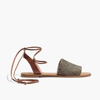 Madewell The Rena Lace Up Sandal In Calf Hair Espresso Bean