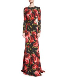 Naeem Khan Long Sleeve Floral Print Open Back Gown Black Red