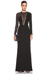 Versace Plunging Neck Mesh Gown In Black