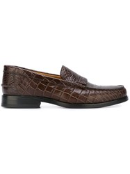 Paul Smith Ps By 'Lennox' Crocodile Effect Loafers Brown