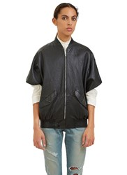 Saint Laurent Short Sleeved Leather Bomber Jacket Black