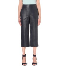 Whistles Olive Leather Trousers Navy