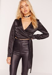 Missguided Long Sleeve Satin Wrap Front Crop Top Black