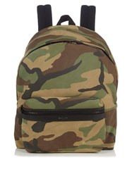 Saint Laurent Camouflage Print Suede Backpack Green Multi