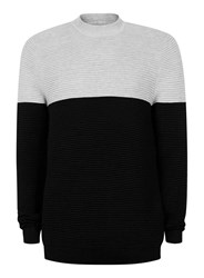 Topman Grey And Black Ripple Textured Turtle Neck Sweater