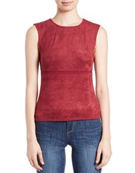 William Rast Faux Suede Roundneck Top Wine