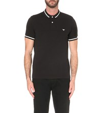 Emporio Armani Tipped Trim Cotton Pique Polo Shirt Nero