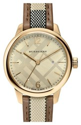 Women's Burberry Check Leather Strap Watch 32Mm