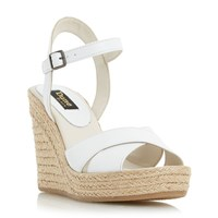 Dune Kilburn Cross Vamp Platform Shoes White