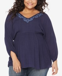 Motherhood Maternity Plus Size Embroidered Blouse Peacoat Navy