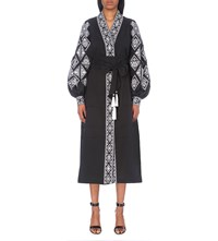 Yuliya Magdych Diamond Embroidered Linen Midi Kaftan Black White