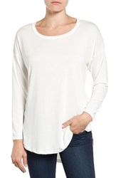 Bobeau Women's High Low Long Sleeve Tee Ivory