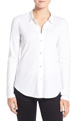 Eileen Fisher Women's Organic Cotton Jersey Classic Collar Shirt White