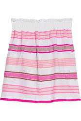 Lemlem Tinish Striped Cotton Blend Gauze Mini Skirt Pink