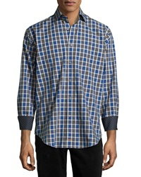 Thomas Dean Plaid Button Font Sport Shirt Cobalt