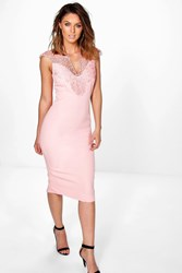 Boohoo Crochet Top Panel Midi Bodycon Dress Blush
