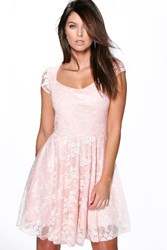 Boohoo Cap Sleeve Lace Skater Dress Nude