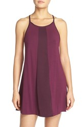 Midnight By Carole Hochman Women's Satin Trim Chemise Mulberry