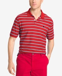 Izod Men's Striped Polo Real Red